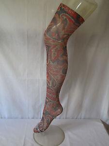 Flirt Grey Red Paisley Pattern Multicoloured Over Knee Holdup Stockings Socks C4