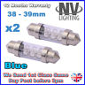 2x 38mm 39mm NUMBER PLATE INTERIOR LIGHT FESTOON BULB 6 LED BLUE 239 272