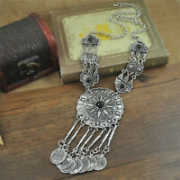 Ethnic Tribal Boho Beads Coin Fringe Necklace Long Belly Dance Bohemian Jewelry
