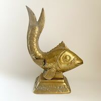 Vintage Gold Solid Brass Asian Koi Fish Art Deco Statue Hollywood Regency 12 3/8