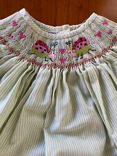 Amanda Remembered Green Stripe Smocked Embroidered Ladybug Dress - 3T