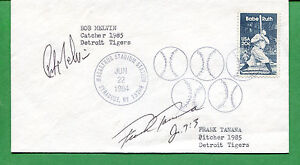Autografato Cover 1985 Detroit Tigers Catcher Bob Melvin Lanciatore Frank Tanana