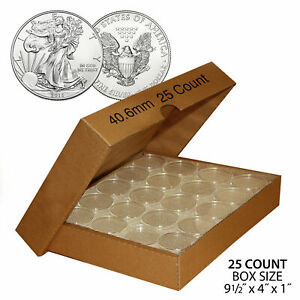 25 Direct Fit Airtight 40.6mm Coin Holders Capsule For 1oz US SILVER EAGLE w/BOX