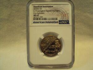 2018 d  American innovation $1 G Washington Signed 1st Patent MS 67