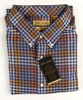 NWT Gold Label Roundtree York LS Blue Orange Check Men Shirt BigTall 2XB 3XB 3XT