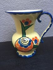 Vintage Czech Jug with Reticulated Base marked Czechoslovakia  Handpainted