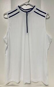 Tail White Label Women's XL Golf Tennis Shirt Top sleeveless lightweight 1/4 zip