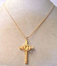 STUNNING VINTAGE ESTATE GOLD TONE RELIGIOUS CROSS NECKLACE!!! WGA3281