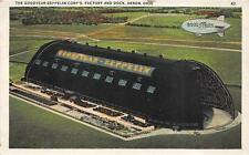 THE GOODYEAR ZEPPELIN CORP FACTORY & DOCK AKRON OHIO AVIATION AD POSTCARD