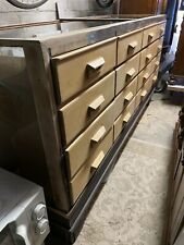 More details for oak haberdashery shop counter display cabinet bank of drawer mid centurydrawers