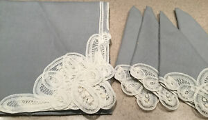 """Battenburg Lace Gray Square 34"""" Tablecloth and 4 Napkins New OS"""
