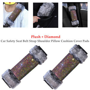 2×Car Safety Seat Belt Strap Diamond Plush Shoulder Pillow Cushion Cover Pad Set