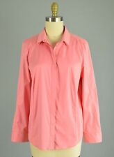 AKRIS PUNTO NWT Stretch Pink Hidden Button Shirt Top Size 16