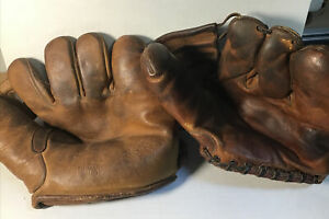 Lot of 2 1940's, 50's gloves, mitts vintage rare wilson