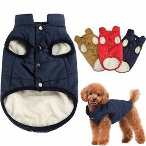 Winter Waterproof Padded Pet Dog Cat Sweater Warm Fleece Lined Jacket Vest Coat
