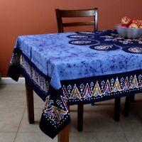 Cotton Multi Batik Paisley Floral Tablecloth Rectangle 60x90 Linen Blue Red