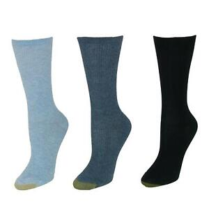 New Gold Toe Women's Non Binding Ribbed Crew Socks (3 Pair Pack)