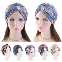Women's Chemo Cap Cancer Hat Muslim Hair Scarf Turban Hijab Head Wrap Cover New