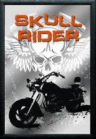 Calavera Rider Motocicletas N º 1 Nostalgia Espejo de BAR 22 X 32CM