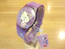 BRAND NEW CHILDS HELLO KITTY WATCH PURPLE DIAL PLASTIC PURPLE STRAP.