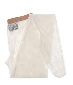 Gucci White Elastic Floral Lace Tights with Pink Logo Waistband S 554856 9000