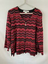 Exclusively Misook Cardigan Sweater Womans Petite Size Large Pink Black Zip Up