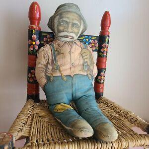 "Antique Uncle Mose Mills Com.1900s Printed on Cloth Rag Doll Super Primitive 16"""
