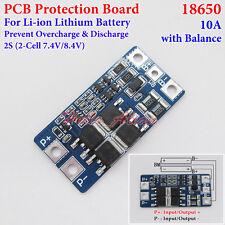 2S 10A 7.4V 8.4V w/Balance 18650 Li-ion Lithium Battery BMS Protection PCB Board