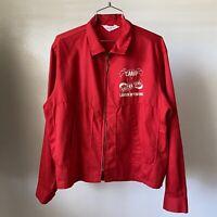 Vintage 50s 60s Jacket Workwear Dan River Flock Print Talon Zip Mens Large Red
