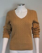 Tommy Hilfiger Womens Sz Medium M Solid Tan/Beige Cable Knit Sweater Long Sleeve