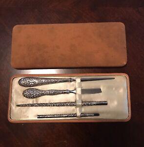 Antique Sterling Silver Repousse Desk Set Pen Pencil Eraser Letter Opener