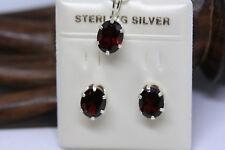 New Sterling Silver Genuine 6 Ctw Genuine Dark Red Garnet Set Pendant Earrings