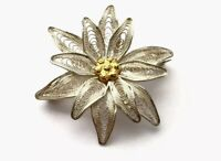 Vintage 800 Silver Gold Filigree FLOWER Brooch Pin GIFT BOXED