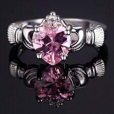 Charming Jewelry 925 Silver Heart Cut Topaz Claddagh Ring Wedding Bridal Size 9