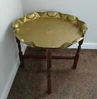 Antique Large Engraved Middle Eastern Brass Table Top Tray on Folding Oak Stand
