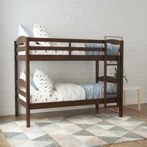 Bunk Beds Twin Over Kids Furniture Bedroom Ladder Wooden Convertible Bunkbed