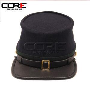 Civil War Union Officers Leather Peak Kepi, Navy Blue with Green Band Plain Hat