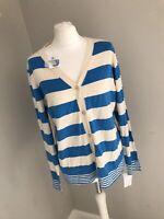 Ladies Silk Cotton Blend Cardigan Uk Size 16 BNWT £29.99 Blue & White Stripe