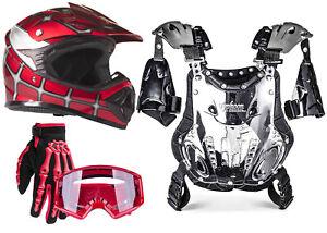 Red Spider Man Combo Chest Protector Helmet Gloves Goggles DOT UTV ATV Dirt Bike