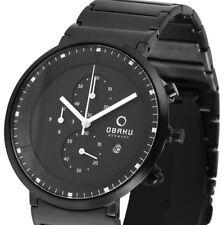 Herren Armbanduhr Schwarz Edelstahlarmband Chronograph von OBAKU Denmark 266 UVP