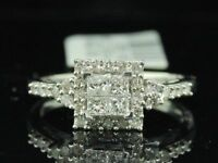 Diamond Engagement Ring Ladies 14K White Gold Princess Cut Halo Design 0.48 Tcw.