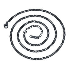 Fashion Mens Stainless Steel Necklace Titanium Flat Necklace Curb Link Chain 3MM