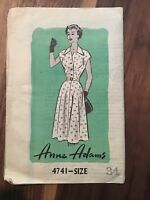 Vtg Anne Adams Woman Dress Sewing Pattern Bust 34 Cap Sleeve Full Skirt