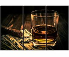 Canvas Prints Cigar and Wine Pictures Framed Painting Home Office Wall Art Decor