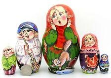 Russian Nesting Doll Babushka Matt Matriochka Famille & Chat sergeyeva signé 5