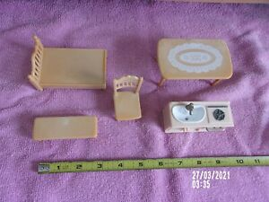 """DOLL HOUSE INTERIOR TABLE, BED, CHAIR, BENCH, 2"""" KITCHEN SINK STOVE & OVEN KELLY"""