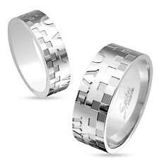 Shared Love Stainless Steel Couple Wedding Band CZ Center Checkered Ring 5 to 13