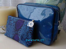 2pc Estee Lauder Cerulean Blue Patent Cosmetic Case Bag