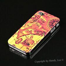 Apple iPhone 4 4S Hard Case Schutz Hülle Cover Etui Motiv Welt Karte