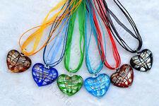 FREE Wholesale lots 6ps Heart Silver Foil Lampwork Glass Pendants Silk Necklace